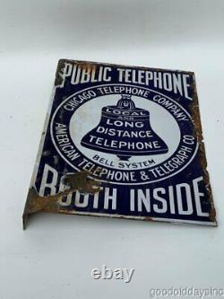 Original Antique Porcelaine Double Sided Publicité Signe Téléphone Booth Chicago