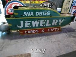 Original Ava, Mo. Drug Double Sided Painted Tin Neon Sign