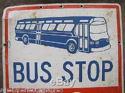 Original Des Années 1950 Arrêt De Bus Signe Double Face En Métal Pas Debout Vieille Rue Retirée