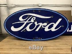 Original Double Face Concessionnaire Porcelaine Neon Ford Signe Version Rare