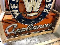 Original Double Face Westinghouse Neon Porcelaine Appliances Signe Old Vintage