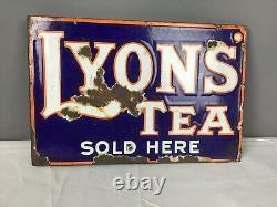 Original Lyons Tea Double Sided Enamel Advertising Sign, Vers 1930
