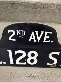Original New York City Street Sign 1920s. Double Sided, Porcelaine, Hump Back