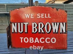 Original Nut Brown Tobacco Double Sided Flange Enamel Signe 18 X 13,5