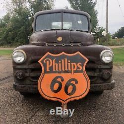 Original Vieux 30 Phillips 66 Porcelaine Double Signe Verso Avec Gasoil Support Rare