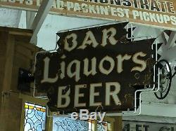 Original Vintage Bar Liqueurs Bière Signe Double Face Porcelaine Neon Gas Oil