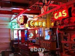 Original Vintage Cafe Double Côté Neon Signer Antique Patina Mancave Restaurant