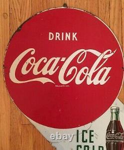 Original Vintage Double Sided Metal Coke Coca-cola Flange Signe Ice Cold