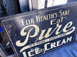 Original Vintage Eat Pure Ice Cream Métal Peint Double Face Adverising Signe