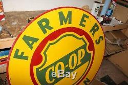 Original Vintage Grand Farmers Union Co-op Métal Double Face Sign Ferme