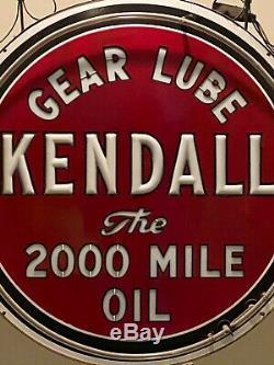 Original Vintage Kendall Oil Double Face En Émail Vitrifié Néon Verre De Lait