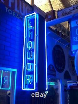 Original Vintage Liquor Signe Bilaterale Verticale Neon Bar Pub Mancave Oil Gas