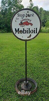 Original Vintage Mobiloil Gargoyle Lollipop Double Face Émail Signe