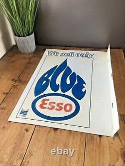 Original Vintage Nous Vendons Esso Bleu Paraffine Double Face Métal Plaque De Magasin