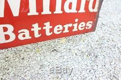 Original Vintage Willard Batteries Métal Double Face Bride Huile Gaz Connectez-vous