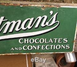 Original Whitman's Chocolates & Confections Enseigne À Bonbons En Porcelaine À Double Face