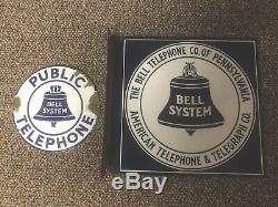 Pa Original De Bell Téléphone Porcelain Double Face Bride Signe 12 Et 7 Téléphone Public