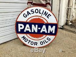 Pan Am Originale Porcelaine 42 En. Essence Double Face Publicité Gaz Huile Signe