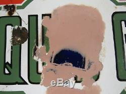 Panneau À Gaz Double Face Et Huile De Cosden En Porcelaine Des Années 1930 D'origine