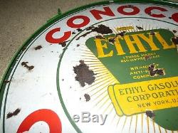 Panneau Conoco Ethyl Essence Vintage En Porcelaine Double Face 30
