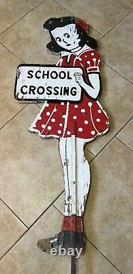 Panneau De Croisement Des Filles De L'école En Métal Peint, Double Face, Grandeur Nature