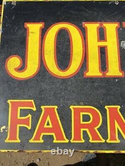 Panneau De Porcelaine De La Ferme Vintage John Deere, Double Face 24 X 72