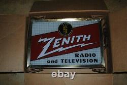 Panneau De Radio Et De Télévision Zénith À Double Face Rare Vintage