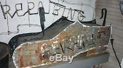 Panneau De Réparation Neon Shoe 1950 / Grand Chaussure À Double Côté