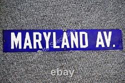 Panneau De Rue En Porcelaine À Double Face Du Vintage 1940 Maryland Av Ave Avenue