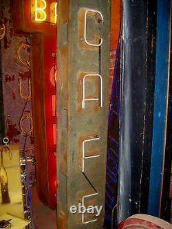 Panneau Néo-néon Vertical Cafe Antique De 1940 De Vintage / Superbe