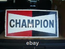 Panneau Original De Gazole À Double Face Champion Vintage