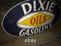 Panneau Original En Porcelaine À Double Face De Gaz Dixie