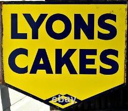 Panneau Publicitaire À Double Face Vintage Lyons Cakes Enamel