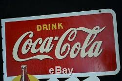 Panneau Publicitaire Anneau Double-face Antique Nos Coca-cola Avec Support