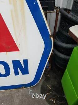 Panneau Publicitaire Vintage Grand Porcelaine Double Côté Marathon Station D'essence Oil
