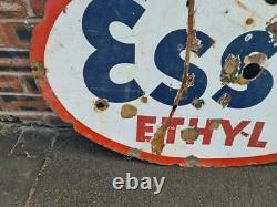 Panneau Vintage En Émail Double Face Esso Ethyl Ovale