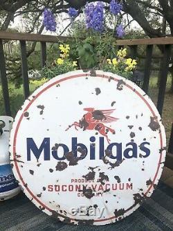 Pegasus De Signe De Publicité Rond D'huile De Porcelaine Antique 30 De Mobilgas Double Face