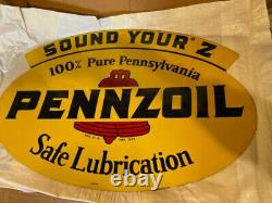 Pennzoil Un-circulated Vintage No. 241 Double Sided Metal Sign Dated A-m 10-59 Pennzoil Un-circulated Vintage No.
