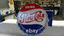 Pepsi Cola Double Sided Metal Advertising Flange Sign (14x 14) Près De Mint