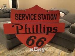Phillips 66 Grands Service Station Double Face En Porcelaine Connexion