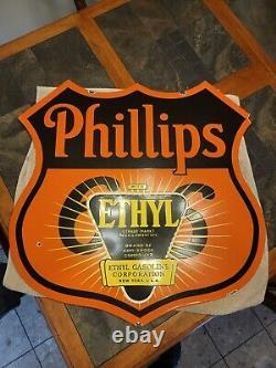 Phillips 66 Porcelaine Métal Signe Bouclier Pompe À Gaz De Pétrole Essence Éthyl Double Faced