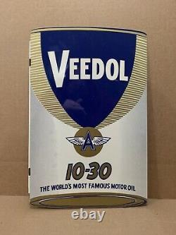 Plaque De Mélange D'huile Veedol Vintage Original Flying A Nos Double Side Gas Metal