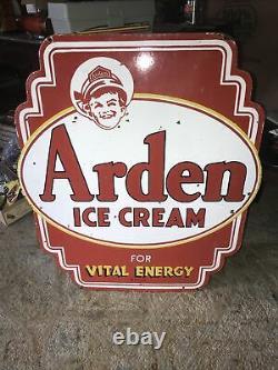 Plaque De Porcelaine À Double Face De Crème Glacée Arden