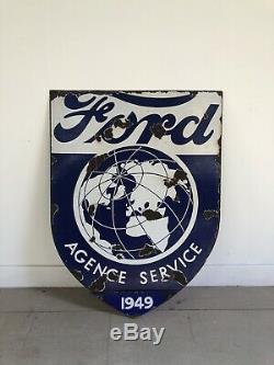 Plaque Emaillée Ford Ancienne Émail Sign Garage Double Face Double Face