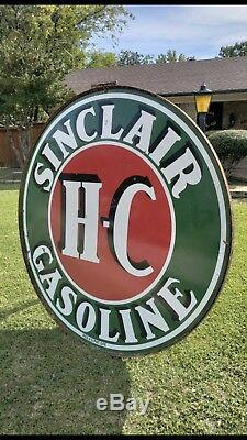 Plaque En Porcelaine Sinclair Hc De 6 Pi Avec Bague Excellent État Double Face