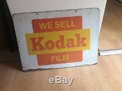 Plaque Métal Vintage Kodak Originale, Double Face, C1950s, 1970s