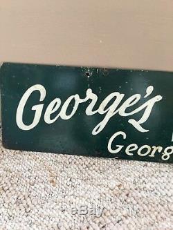 Plaque Originale En Métal Double Face De George's Delicatessen Deli, Années 1940
