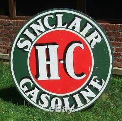 Plaque Originale En Porcelaine Recto-verso Sinclair Hc 48 Pouces, Bel État Vintage
