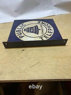 Porcelaine Bell System Public Telephone Double Sided Flanged Sign 11 X 11