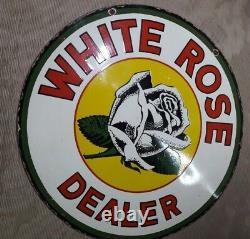 Porcelaine Blanc Rose Dealer Émail Signe 42 Pouces Rond Double Face